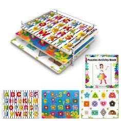 Preschool Puzzles with Rack - Alphabet/Numbers/Shapes