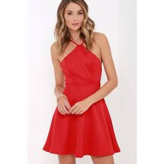 Steal the Spotlight Red Skater Dress Bought for Valentine's Day and never wore! Lulu's Dresses Mini