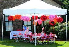 Pompones de seda para fiestas al aire libre