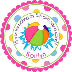 Girl Beach Ball Pool Party Personalized Stickers  by partyINK, $6.00
