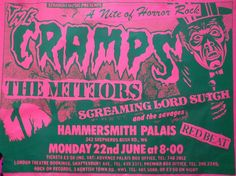 The Cramps, The Meteors and Screaming Lord Sutch gig flyer // man, what an amazing line-up