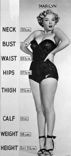 While the difference between vintage and modern sizing has changed drastically, inches and pounds have not. This is a publicity photo put out by Fox Studios in 1950 detailing Marilyn's vitals.