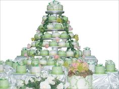 green and White Wedding Cake and Cupcake Decorating Ideas cup-cake-towers astrology-tarot accessorize-simplement Types Of Wedding Cakes, Wedding Cake Photos, Amazing Wedding Cakes, Wedding Cakes With Cupcakes, Unique Wedding Cakes, Unique Weddings, Cupcake Wedding, Irish Wedding, Dream Wedding