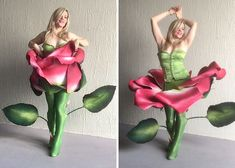 Woman Uses Foam And Toilet Seat Hinges To Create A Moving Rose Costume Family Halloween Costumes, Halloween Cosplay, Diy Costumes, Costumes For Women, Cosplay Costumes, Rose Costume, Flower Costume, Green Tights, Blooming Rose