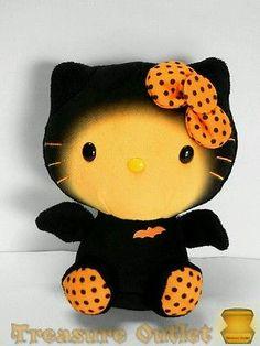 Ty Stuffed Plush Beanie Baby Hello Kitty Halloween Black Orange Bat 6in