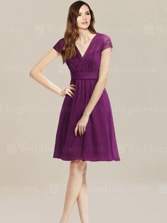 Convertible bridesmaid dress is a short length chiffon dress with V-shaped neckline and convertible straps. Straps can be used to create wide straps or cap sleeves for a modest look. Pleated bodice completes the dress with a satin sash and gathered skirt. Available in 60 colors, shown in Violet.