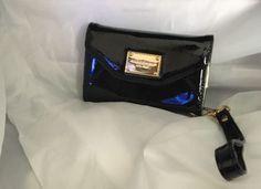 Michael Kors Wrist Wallet Handbag Clutch iPhone Case Purse Black Patent Leather
