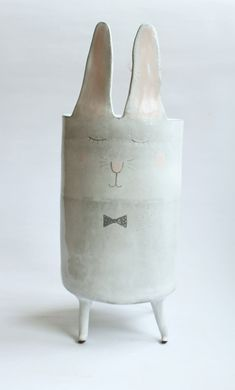 Charles the Rabbit  ceramic vase with pastel polka by clayopera, $120.00