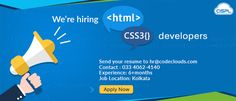 We are hiring HTML / UI Developers. Minimum experience required - 6 months - 3 years. Must have expertise in HTML, HTML5 / CSS3, Jquery, Photoshop, AI. Night Workers! Earn 2X. #Hiring #HTMLDevelopers #CodeClouds