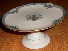 VTG Lenox Fountain Fine China Pedestal Dessert Plate Raised Enamel Inverted Gold #Lenox