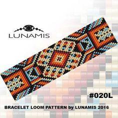 Bracelet pattern, loom pattern, square stitch pattern, pdf file, pdf pattern, cuff, #020L by LunamisBeadsPatterns on Etsy
