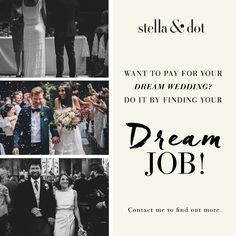 Pay for your dream wedding...and find your dream job! #sdjoy #weddings