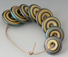 Metallic Discs 8 Handmade Lampwork Beads Steel Pale by outwest