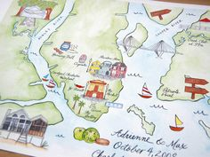 Custom illustrated maps by Swiss Cottage Designs...what a lovely gift idea!