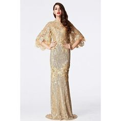 Coniefox 2016 High Neck Half sleeve Empire Applique Gold Prom Dress... ❤ liked on Polyvore featuring dresses, white prom dresses, white gold cocktail dress, white dress, applique prom dress and empire dress