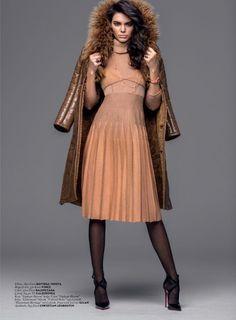 Striking a pose, Kendall Jenner wears Bottega Veneta dress and Balenciaga jacket for Vogue Magazine Turkey November 2016 editorial