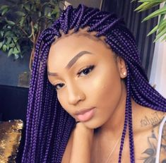 43 Cool Blonde Box Braids Hairstyles to Try - Hairstyles Trends Purple Box Braids, Colored Box Braids, Blonde Box Braids, Braids For Black Hair, Purple Hair, Braids With Color, African Hair Braiding, Braids With Weave, 4c Hair