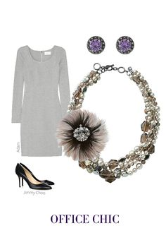 We love the versatility of the Plume Brooch for the office.  The duo toned feathers and sparkly stones, add a subtle touch of glamour that's appropriate for day or night.  Pin the brooch to accent a sweater or blazer, or for our favorite look, pin it onto our Astor Five Strand Necklace, and finish the look with Tudor Studs. The array of textures worn in jewels will make the rest of your outfit effortless. Just slip on a fitted dress and classic pumps to support the look…