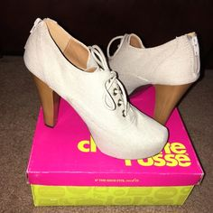 More heels!! Stone color. Canvas material. Worn once. Super comfortable. Perfect with jeans and your favorite T. Charlotte Russe Shoes Heels