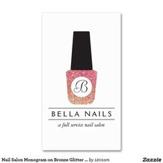 Customizable Nail Salon Business Card Features Stylish Bronze/Pink Glitter Nail Polish Monogram Logo - Unique and Glamorous design ready for you to personalize!