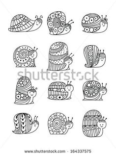 Find snail stock images in HD and millions of other royalty-free stock photos, illustrations and vectors in the Shutterstock collection. Thousands of new, high-quality pictures added every day. Doodle Drawings, Zentangle Drawings, Easy Drawings, Easy Zentangle, Zentangles, Zen Doodle, Doodle Art, Snail Image, Animal Doodles