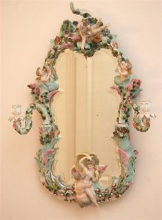 Miacin Mirror With Cupids : Featuring an amazing Miacin mirror with cupids. This Item is in excellent condition with no damage of any kind. Fancy Mirrors, Old Mirrors, Vintage Mirrors, Vintage Chandelier, Custom Mirrors, Dresden Porcelain, Beautiful Mirrors, Through The Looking Glass, Objet D'art