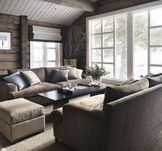 Love the furniture arrangement by the big window Cabin Homes, Log Homes, My Living Room, Home And Living, Cozy Living, Modern Log Cabins, Lexington Home, Cabin Interiors, Cabins And Cottages