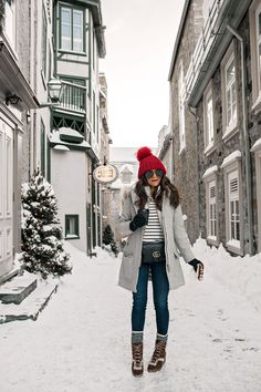 Cold Weather Outfit Inspiration Red Hat Boots Snow What to wear in the winter Boots Layering Gucci Quebec City New York City Fashion Blogger Corporate Catwalk