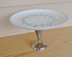 Vintage Mid Century Modern Cake plate Turquoise by JudysJunktion, $35.00