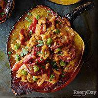 Paella-Stuffed Squash - Rachael Ray Every Day Pork Recipes, Fall Recipes, Vegetarian Recipes, Cooking Recipes, Healthy Recipes, What's Cooking, Vegetarian Restaurants, Recipies, Chorizo Recipes