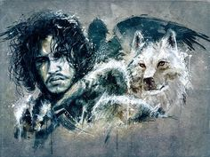Beautiful wallpaper of Jon Snow and Ghost. Currently my Twitter header.