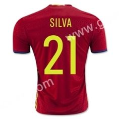 2016 European Cup Spain SILVA Home Red Thailand Soccer Jersey