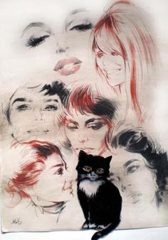Omaggio alle grandi attrici e ai gatti, tavola originale di Silvano Campeggi.