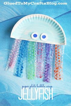 Paper Plate Bubble Wrap Jellyfish - Kid Craft