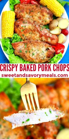 Crispy Baked Pork Chops is the perfect easy to make and hearty stand-alone dish. #crispybakedporkchops #porkchops #sweetandsavorymeals #porkrecipes #dinnerrecipes