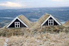 Typical turf houses on a hill during winter in Iceland.
