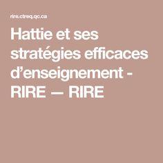 Hattie et ses stratégies efficaces d'enseignement - RIRE — RIRE