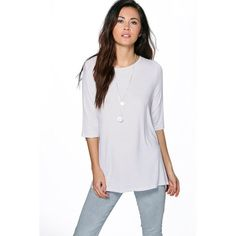 Boohoo Blue Hollie Popper Detail T-Shirt ($20) ❤ liked on Polyvore featuring tops, t-shirts, white, white baseball tee, crew neck long sleeve t-shirt, long sleeve crew neck tee, long sleeve t shirt and long sleeve layering tee