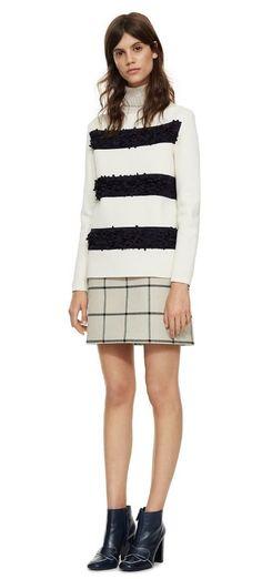 Tory Burch Embellished Boatneck Pullover, Plaid Side-Pocket Skirt and Bond Booties