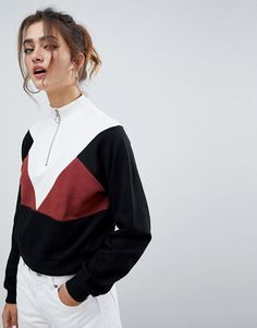 Find the best selection of ASOS DESIGN retro zip through color block crop sweatshirt. Shop today with free delivery and returns (Ts&Cs apply) with ASOS! Retro Sweatshirts, New Fashion, Fashion Online, Modelista, Mode Online, Long Sleeve Shirts, Sweaters For Women, Cute Outfits, Blouse