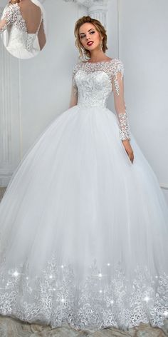 Elegant Tulle Bateau Neckline Ball Gown Wedding Dress With Lace Appliques & Beading wedding ideas|wedding dresses|wedding invitations|wedding|wedding photography
