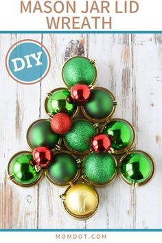 Mason Jar Lid Wreath crafts, a tutorial on how to create a Christmas lid Wreath in any size, Mason jar craft tutorial using canning lids to shape a tree Canning Lids, Mason Jar Lids, Mason Jar Crafts, Wreath Crafts, Diy Wreath, Wreath Ideas, Fun Crafts, Christmas Wreaths, Christmas Crafts