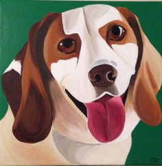 """Clutch the rescue dog! 12""""x12""""x.5"""" acrylic on canvas.  Based on client provided photo. Interested in your own custom pet portrait? Visit www.thetayloredspirit.com for details!"""