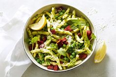 Quick and easy is the name of the game with this tasty pasta dinner. Chorizo, pesto and peas make a perfect combination, while adding a squeeze of lemon brings that tang you love.