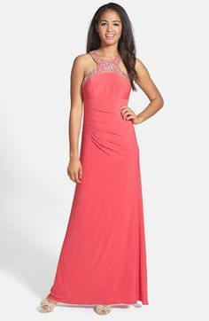 Xscape Beaded Jersey Halter Gown available at #Nordstrom