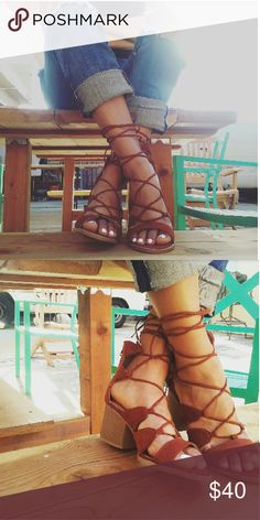 The Rustic Whiskey lace up sandals Brand new Never been worn Comes in original box No trades Many more sizes available Shoes Sandals