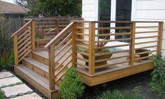 horizontal deck railing design design ideas from deckrative Horizontal Deck Railings Horizontal Deck Railing, Wood Deck Railing, Deck Railing Design, Patio Deck Designs, Deck Railing Ideas Diy, Small Deck Designs, Small Decks, Porch Ideas, Back Deck Ideas