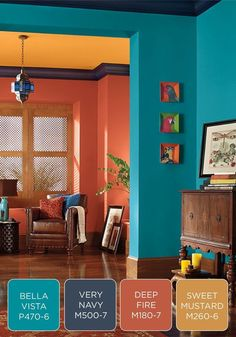 Best Living Room Color Schemes Idea [To Date] Make a bold statement in your entryway with a colorful BEHR paint palette. Try fresh blue, purple, orange, and yellow colors to greet your guests and give an eclectic feel to your home. Sweet Home, Room Color Schemes, Paint Schemes, Orange Color Schemes, Interior Color Schemes, Color Combinations For Walls, Colorful Interiors, Colorful Living Rooms, Colorful Decor