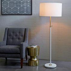"""$183 ($229), 100W max, 20""""diam x 60-66""""H. Telescoping Floor Lamp - White #westelm"""