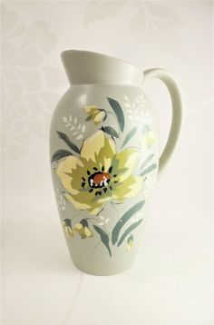 Brentleigh Ware Jug Perth Hand Painted Floral Vintage Staffs Pottery Home Decor